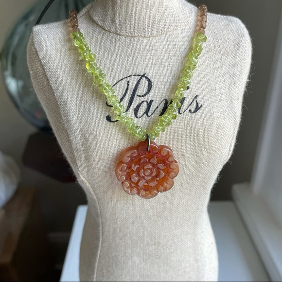 Beaded Glass Flower Necklace